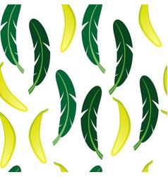 seamless background with banana and banana palm vector image