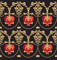Seamless damask pattern with beautiful ornamental vector