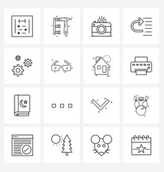 Set 16 line icon signs and symbols engine vector