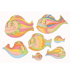 Set cartoon cheerful brightly colored fish vector