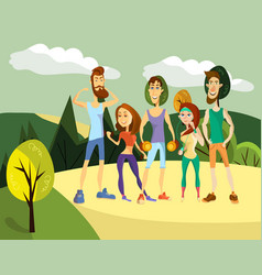 set fitness people in cartoon style vector image