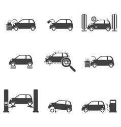 Set of service icons for cars on white vector