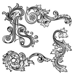 set of swirls in vintage style vector image