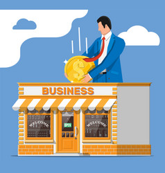 Shop building commercial property man with coin vector