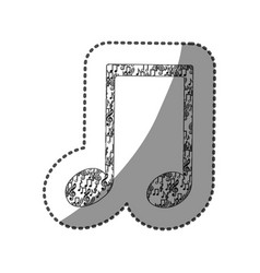 Sticker musical note monochrome silhouette formed vector
