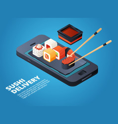 Sushi order online or telephone order various vector