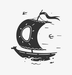 Symbol sailboat vector