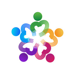 teamwork charity people heart shape logo vector image