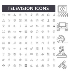 television line icons signs set outline vector image