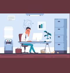 tired office worker burnout businessman with vector image
