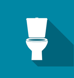 toilet bowl flat icon with long shadow vector image