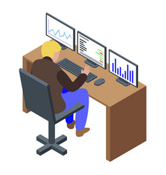 Trader desk icon isometric style vector