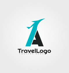 Travel agent logo design with initials a letter vector