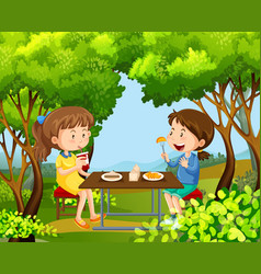 two girls having picnic in the woods vector image