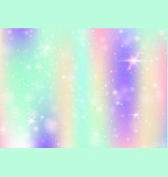 Unicorn background with rainbow mesh vector