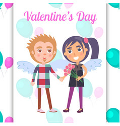 Valentines day poster first date teenage couple vector