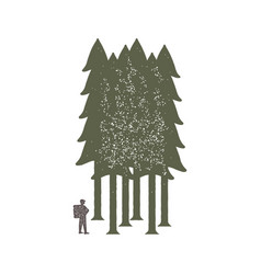 vintage emblem of tourist-traveler in forest and vector image