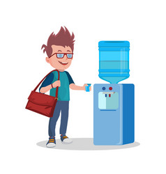 water cooler and man with cup vector image