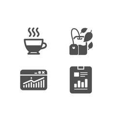 Website statistics doppio and mint bag icons vector
