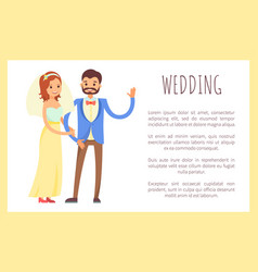 Wedding groom and bride poster vector