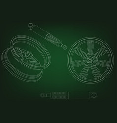 Wheel and shock absorber on a green vector