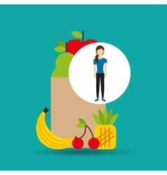 Woman exercising healthy food bag vector