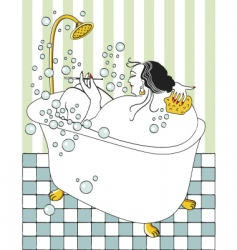 Woman taking bath vector