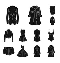 women clothing black icons in set collection for vector image