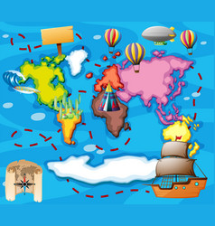 World map with different transportations vector