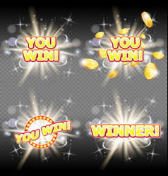 you win and winner congratulation banner vector image