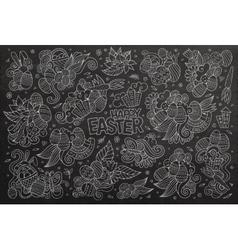 Chalkboard doodles cartoon set of Easter vector image