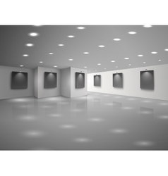 Empty white hall interior with blank black vector image