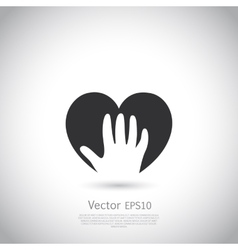 Hand holding heart symbol sign icon logo vector image vector image