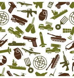 military theme colors icons seamless pattern eps10 vector image