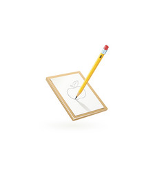 pencil draw apple at white vector image vector image
