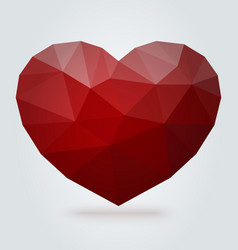 red polygonal heart on white background vector image