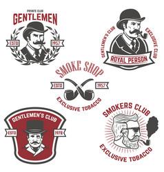 set of smokers club gentlemen club labels design vector image