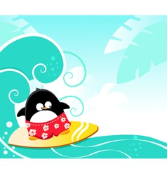 surfing penguin vector image vector image