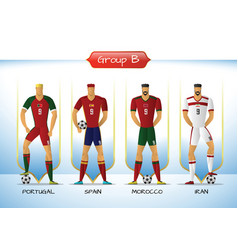 2018 soccer or football team uniform group b vector image vector image