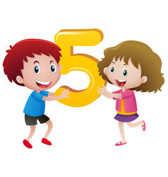 boy and girl holding number five vector image