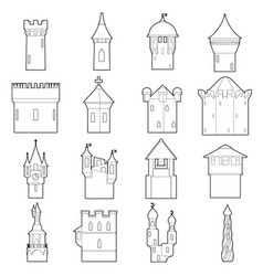 castle tower icons set color outline style vector image vector image