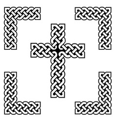 celtic style endless knot cross symbols vector image
