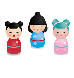 cute kawaii kokeshi set traditional japanese vector image