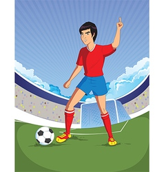 football soccer player is number one in a stadium vector image vector image
