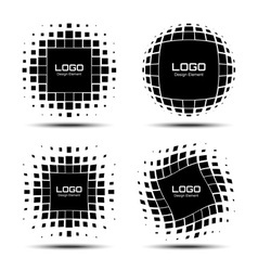 Set of Abstract Halftone Logo Design Elements vector image vector image