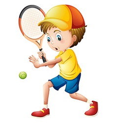 A young man playing tennis vector image
