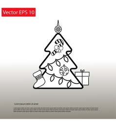 Christmas Outline Tree vector image vector image
