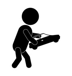 pictogram boy playing with toy car vector image