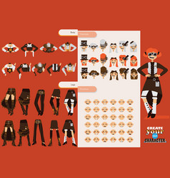 set collection for creation cute female vector image