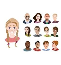 Set of international cartoon avatar icons vector image vector image
